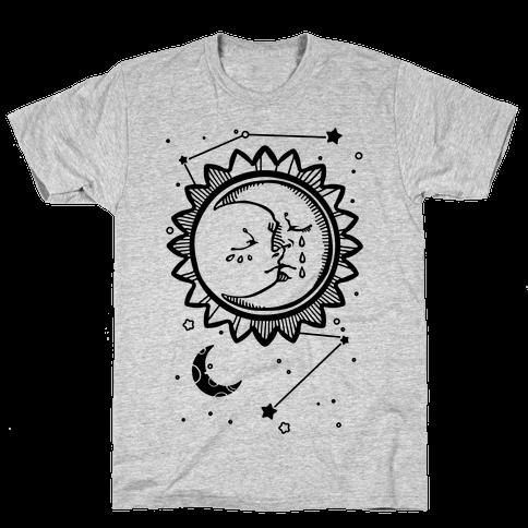 Sun and Moon Faces Mens T-Shirt