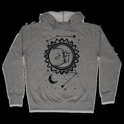 Sun and Moon Faces Hooded Sweatshirt
