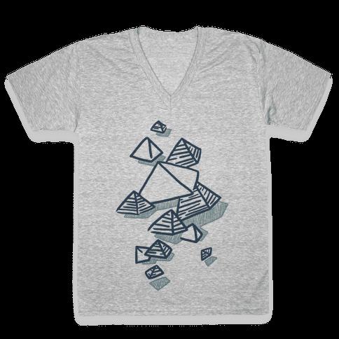 Geometric Pyramids V-Neck Tee Shirt