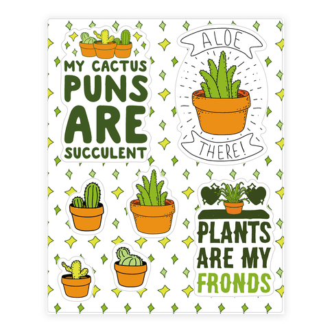 Succulent Plant Puns Sticker and Decal Sheet