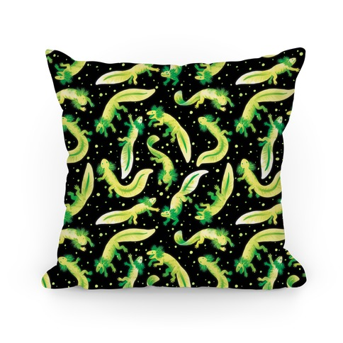 Green Fluorescent Axolotl Pattern Pillow