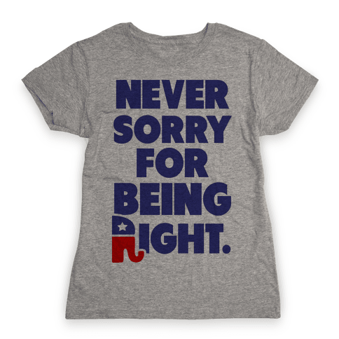 Never Sorry Womens T-Shirt