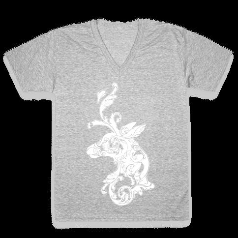 Decorative Deer Head V-Neck Tee Shirt
