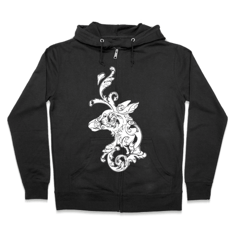 Decorative Deer Head Zip Hoodie