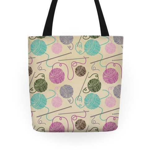 Yarn Balls and Knitting Needles Tote