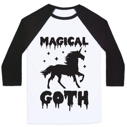 Magical Goth Unicorn Baseball Tee