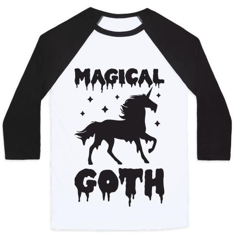 Magical Goth Unicorn Baseball Tee