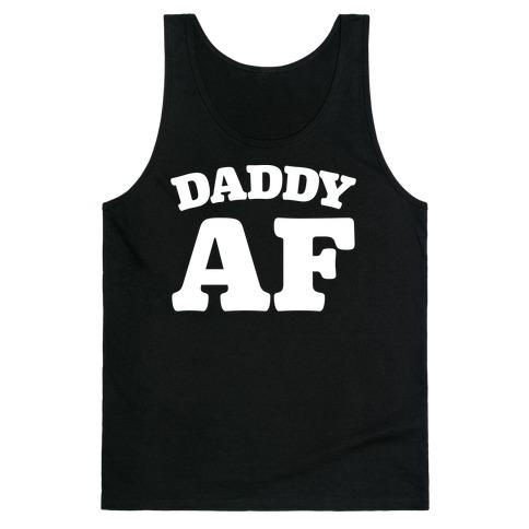 Daddy AF White Print Tank Top