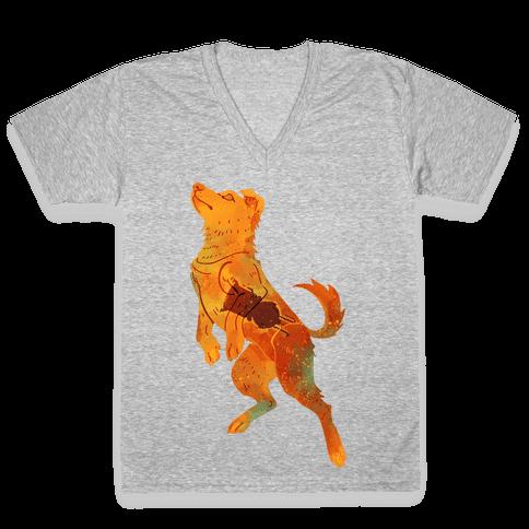 Astronaut Dog Zvezdochka V-Neck Tee Shirt