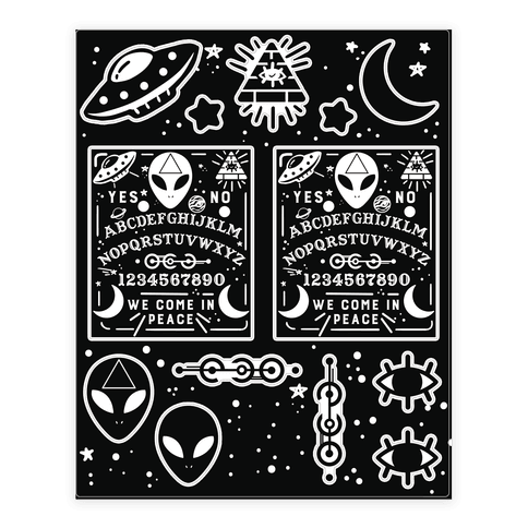 Occult Alien Ouija Board Sticker and Decal Sheet