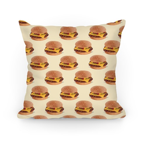 Cheeseburger Pattern Pillow