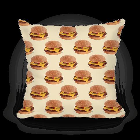 Cheeseburger Pattern Pillow
