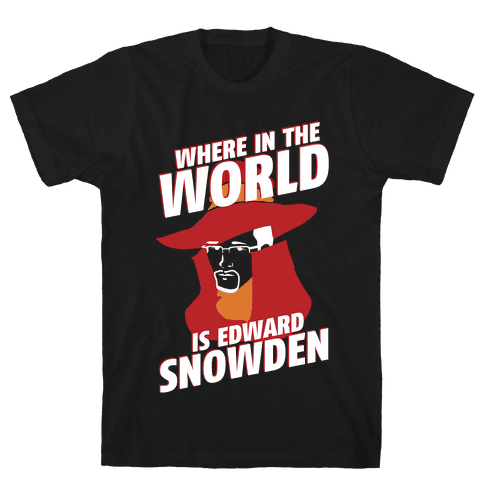 Where In The World Is Edward Snowden Mens T-Shirt