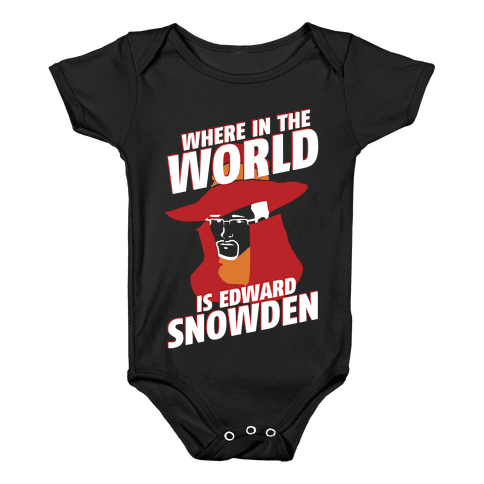 Where In The World Is Edward Snowden Baby Onesy