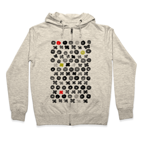 XOXO Hugs and Kisses Pattern Zip Hoodie