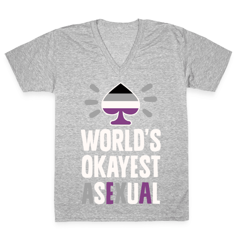 World's Okayest Asexual V-Neck Tee Shirt