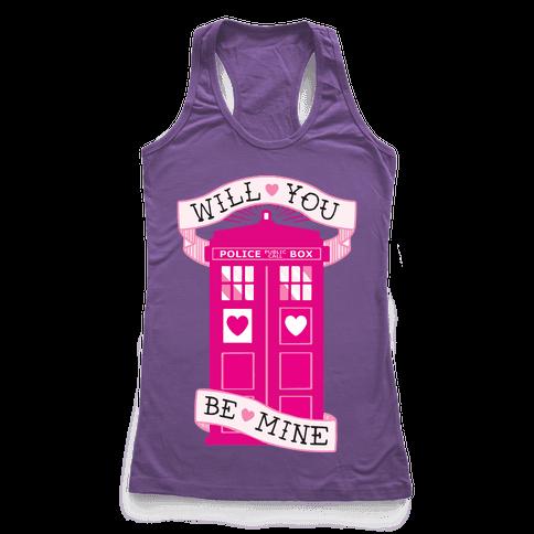 Will You Be Mine (Tardis) Racerback Tank Top