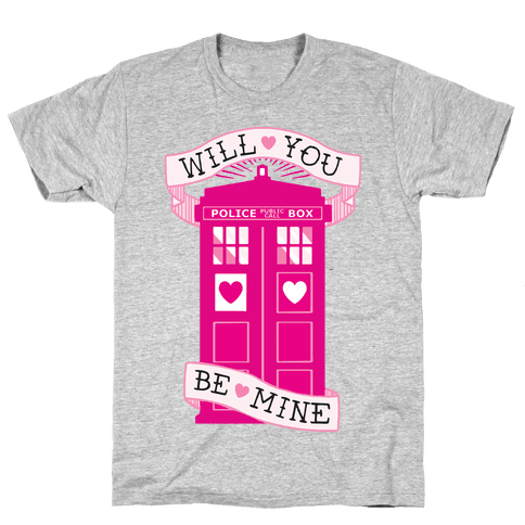Will You Be Mine (Tardis) Mens T-Shirt