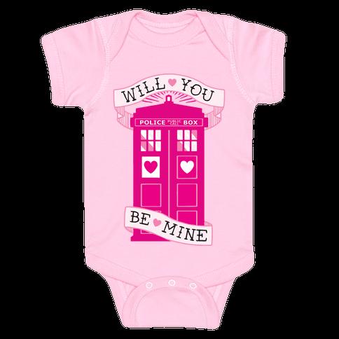 Will You Be Mine (Tardis) Baby Onesy