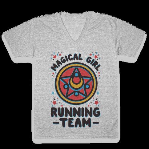 Magical Girl Running Team V-Neck Tee Shirt