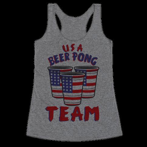 USA Beer Pong Team Racerback Tank Top