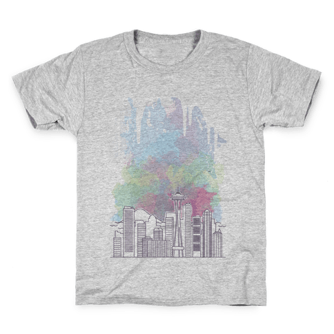 Seattle Graphic Watercolor Cityscape Kids T-Shirt