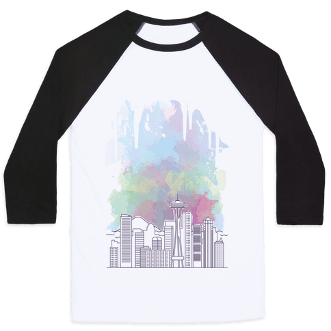 Seattle Graphic Watercolor Cityscape Baseball Tee
