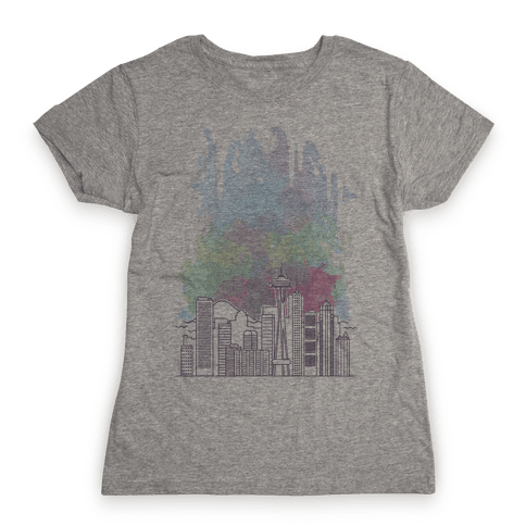 Seattle Graphic Watercolor Cityscape Womens T-Shirt