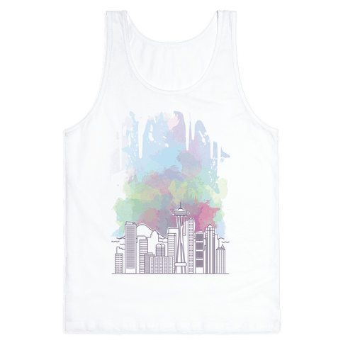 Seattle Graphic Watercolor Cityscape Tank Top