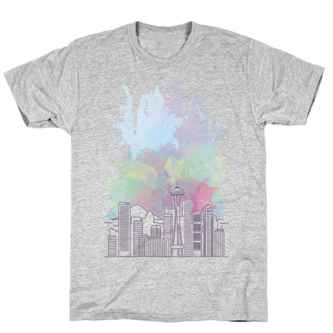 Seattle Graphic Watercolor Cityscape T-Shirt
