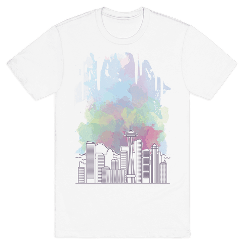 Seattle Graphic Watercolor Cityscape Mens T-Shirt