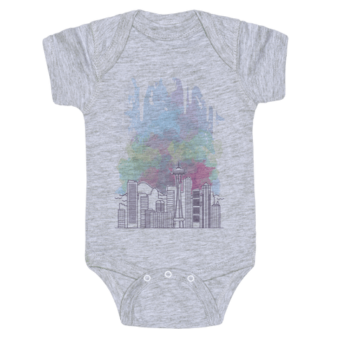 Seattle Graphic Watercolor Cityscape Baby Onesy