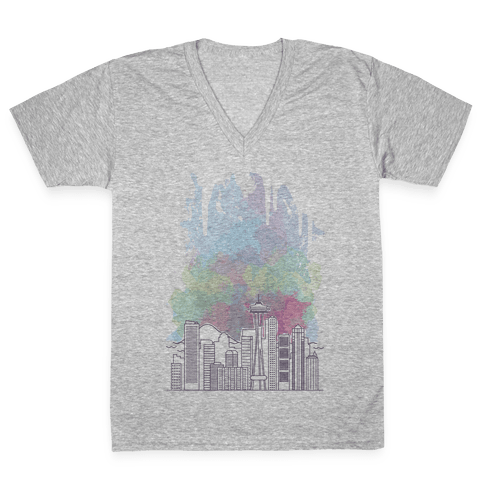 Seattle Graphic Watercolor Cityscape V-Neck Tee Shirt