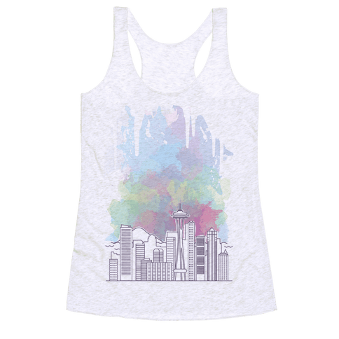 Seattle Graphic Watercolor Cityscape Racerback Tank Top