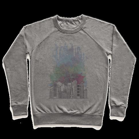 Seattle Graphic Watercolor Cityscape Pullover