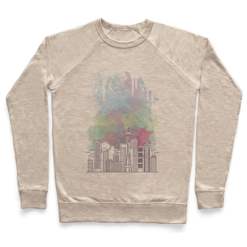 Seattle Graphic Watercolor Cityscape Pullover