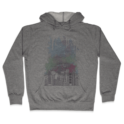 Seattle Graphic Watercolor Cityscape Hooded Sweatshirt