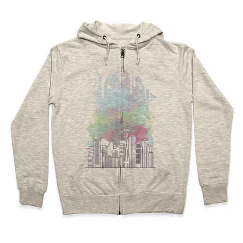 Seattle Graphic Watercolor Cityscape Zip Hoodie