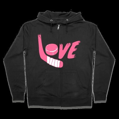 Love Hockey (Pink Letters)  Zip Hoodie