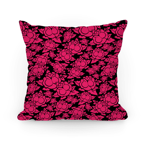 Pink and Black Rose Pattern Pillow