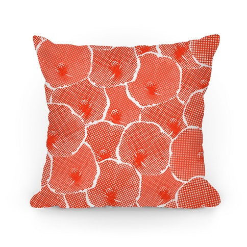 Red Poppy Flower Pattern Pillow