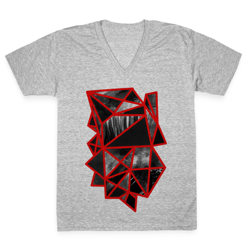 Geometric Collage V-Neck Tee Shirt