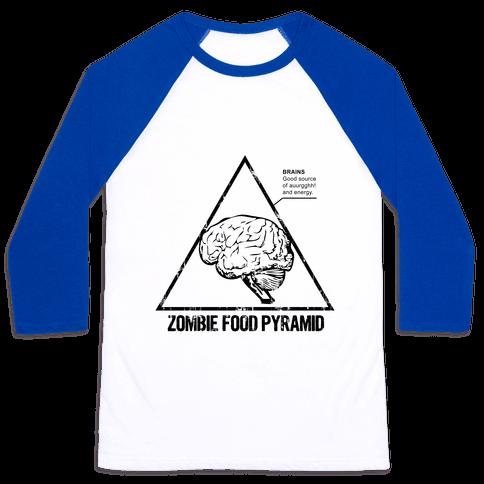 Zombie Food Pyramid Baseball Tee