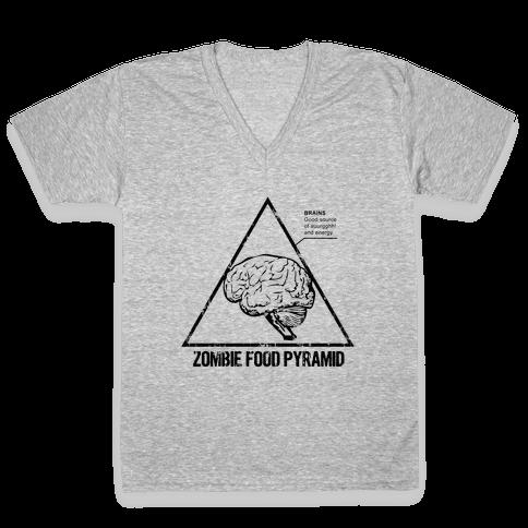 Zombie Food Pyramid V-Neck Tee Shirt