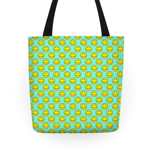 Teal Smiley Face Pattern Tote