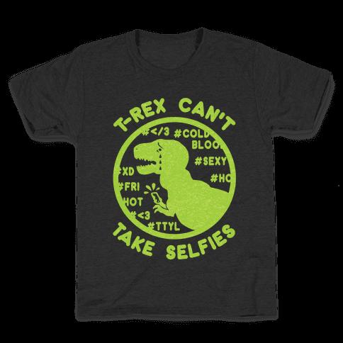 T-Rex Can't Take Selfies Kids T-Shirt