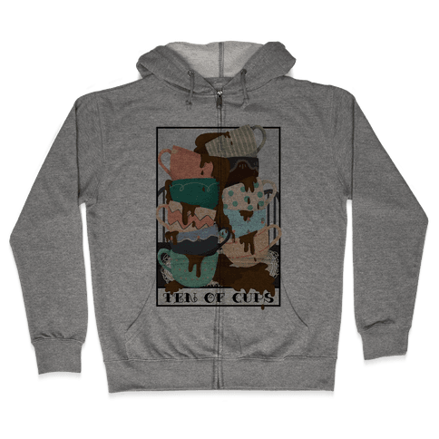 Ten Of Cups (Coffee) Tarot Card Zip Hoodie