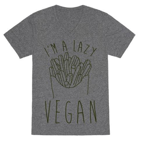 Lazy Vegan V-Neck Tee Shirt