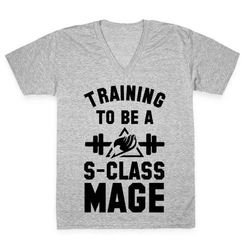 Training to Be a S-Class Mage V-Neck Tee Shirt