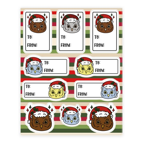 Cute Owl Christmas Tag  Sticker/Decal Sheet